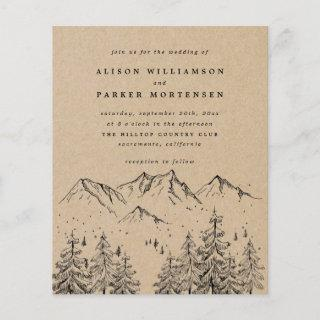 Budget Rustic Hand-drawn Mountains & Trees Wedding