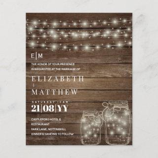 Budget Rustic Lights Mason Jars Wedding Invites