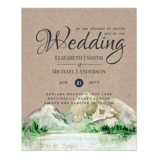 BUDGET Rustic Mountain Lake Forest Wedding Invite Flyer