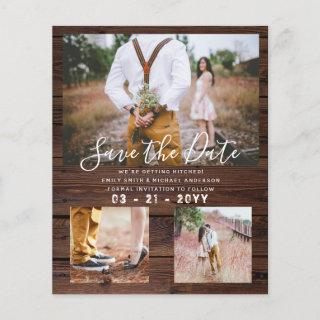 Budget Rustic Photo Collage Save the Date Wood