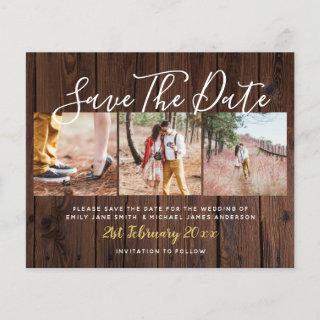Budget Rustic Photo Collage Save The Dates Wood