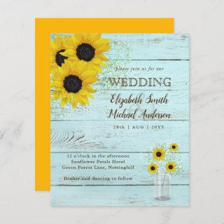 BUDGET Rustic Sunflower Teal Yellow Wedding Invite