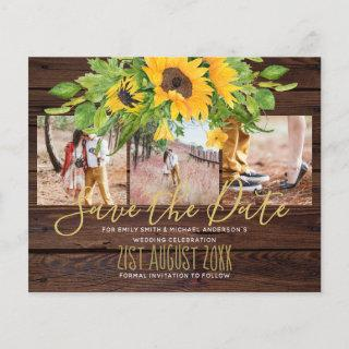 Budget Rustic Sunflowers Photo Save The Dates