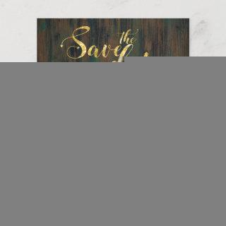 Budget Save The Date Rustic Wood Gold Photos Heart