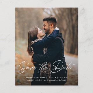 Budget Save the Date Stylish Script Vertical Photo