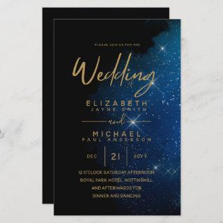 BUDGET Starry Night Navy Gold A9 Wedding Invites
