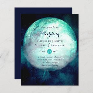 BUDGET Teal Moon Gothic Wedding Invite