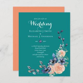 BUDGET Teal Navy Coral Floral Wedding Invitations