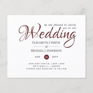 Budget TYPOGRAHY Wedding Invites - Burgundy Red