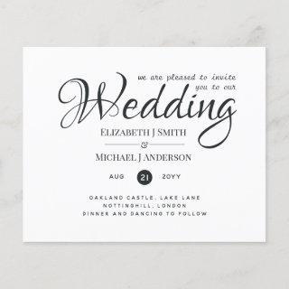 Budget TYPOGRAHY Wedding Invites - Modern Charcoal