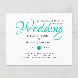Budget TYPOGRAHY Wedding Invites - Modern TEAL