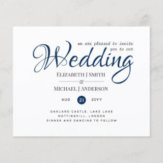 Budget TYPOGRAHY Wedding Invites - Navy Blue