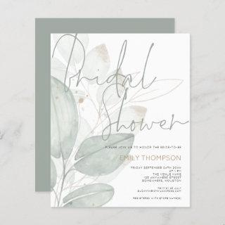 Budget Watercolor Foliage Bridal Shower Invitations