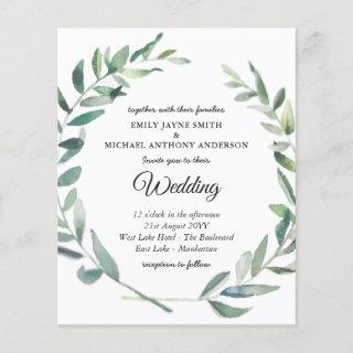 Budget Wedding Invitation Modern Olive Leaves