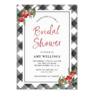 Buffalo Check Black & White Rustic Bridal Shower Invitation