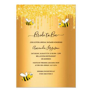 Bumble bees bride to bee glitter bridal shower invitation