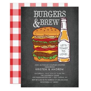 Burgers & Brew Couples Shower Invitations