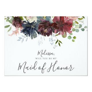 Burgundy and Blue Floral Be My Maid of Honor Invitations