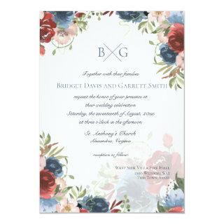 Burgundy and Blue Floral Monogram Invitations