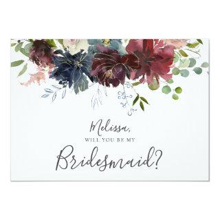 Burgundy and Blue Floral Will You Be My Bridesmaid Invitations