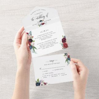 Burgundy and Blue Wedding w/ Perforated RSVP All In One