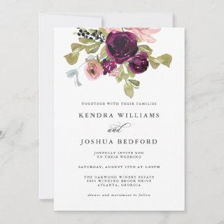 Burgundy and Blush Watercolor Floral Wedding