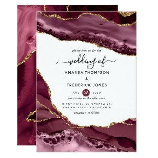 Burgundy and Gold Agate Wedding Invitations