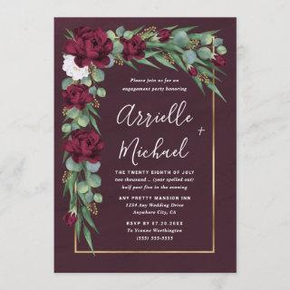 Burgundy and Gold Floral Fall Engagement Party