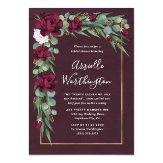 Burgundy and Gold Floral Fall Unique Bridal Shower Invitation