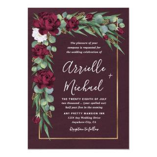 Burgundy and Gold Floral Watercolor Fall Wedding Invitation