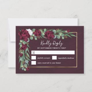 Burgundy and Gold Floral Watercolor Fall Wedding RSVP Card