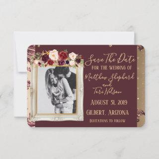 Burgundy and Gold Save The Date (Blank on backside