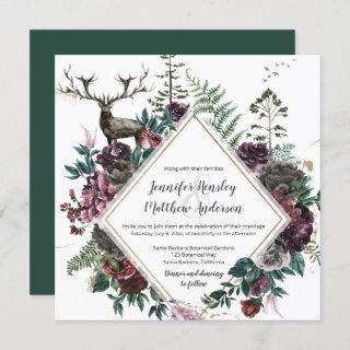 Burgundy and Gray Floral with Stag and Greenery  | Invitations