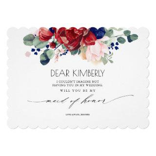 Burgundy and Navy Blue Floral Be My Maid of Honor Invitation