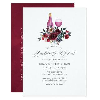 Burgundy and Navy Floral Wine Bachelorette Weekend Invitations