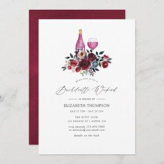 Burgundy and Navy Floral Wine Bachelorette Weekend Invitation