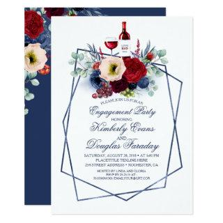 Burgundy and Navy Wine Tasting Engagement Party Invitations