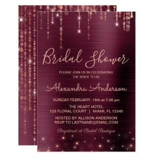 Burgundy and Rose Gold Bridal Shower Invitations