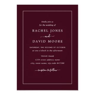 Burgundy And White Modern Wedding Invitation