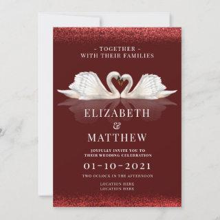 Burgundy and White Themed with Swans Wedding Invitations