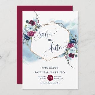 Burgundy, Berry and Blue Floral Wedding Save The Date