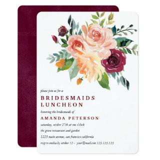 Burgundy Bloom  Bridesmaids Luncheon Wedding Invitation
