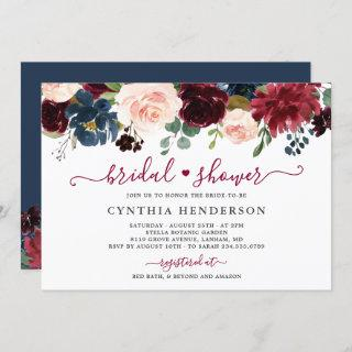 Burgundy Bloom Floral Navy Blue Bridal Shower Invitation
