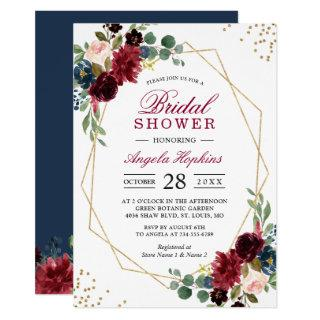 Burgundy Blue Floral Gold Geometric Bridal Shower Invitations