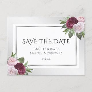 Burgundy Blush and Silver Floral Save The Date Announcement Postcard