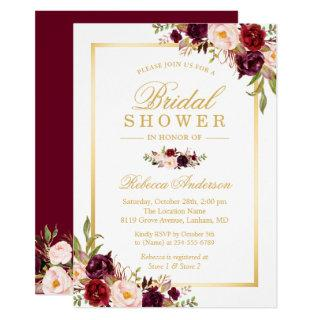 Burgundy Blush Bloom Floral Gold Bridal Shower Invitations