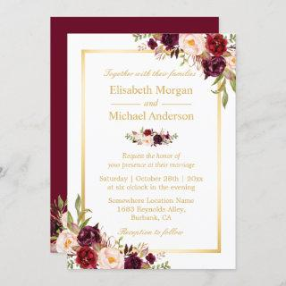Burgundy Blush Bloom Floral Gold Frame Wedding Invitations