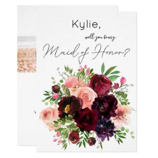 Burgundy & Blush Floral Be My Maid of Honor? Photo Invitations
