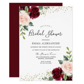 Burgundy Blush Floral Bridal Shower Invitation