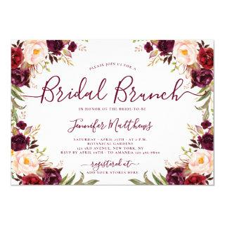 Burgundy Blush Floral Elegant Script Bridal Brunch Invitation